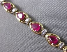 ANTIQUE 3.87CT DIAMOND & AAA RUBY 14KT WHITE GOLD PEAR SHAPE BRACELET #11382