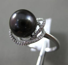 ESTATE LARGE .19CT DIAMOND 14K WHITE GOLD 3D TAHITIAN PEARL FLOWER SOLITARE RING