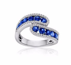 ESTATE WIDE 1.80CT DIAMOND & AAA SAPPHIRE 14K WHITE GOLD ETOILE CRISS CROSS RING
