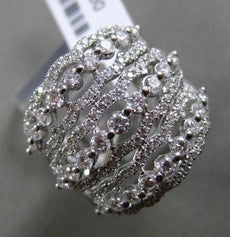ESTATE LARGE 1.35CT DIAMOND 18KT WHITE GOLD MULTI ROW PAVE ETOILE COCKTAIL RING