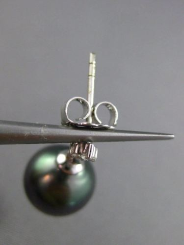ESTATE .06CT DIAMOND 14KT WHITE GOLD AAA TAHITIAN PEARL 3 STONE HANGING EARRINGS