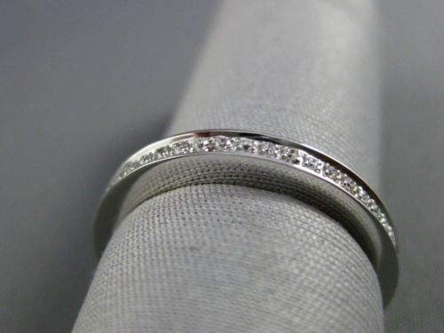 ESTATE DIAMOND 18KT WHITE GOLD SEMI ETERNITY WEDDING ANNIVERSARY RING BAND 2.5mm