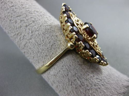ANTIQUE WIDE 4.0CT AAA GARNET 14KT YELLOW GOLD FILIGREE NORTH SOUTH RING #19812