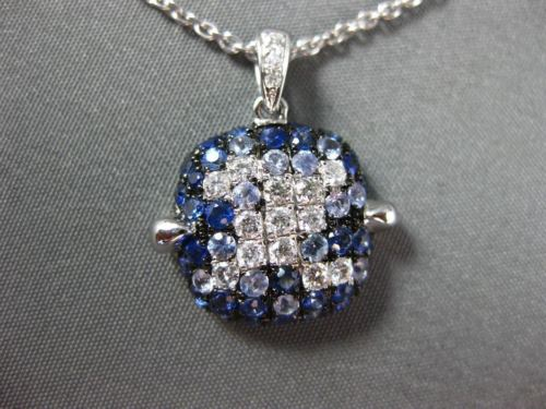 LARGE 1.68CT DIAMOND & AAA SAPPHIRE 18KT WHITE & BLACK GOLD SQUARE PAVE PENDANT