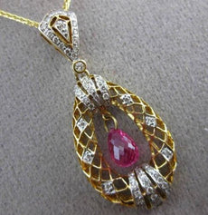 ANTIQUE 1.78CT DIAMOND & AAA SAPPHIRE 14KT YELLOW GOLD FLOATING PENDANT & CHAIN