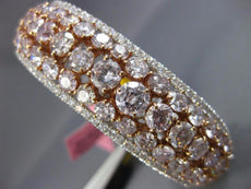 GIA LARGE 18.71CT WHITE & PINK DIAMOND 18KT WHITE & ROSE GOLD 3D BANGLE BRACELET