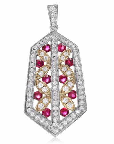 ESTATE 1.19CT DIAMOND & AAA RUBY 14KT 2 TONE GOLD 3D ETOILE LEAF HEXAGON PENDANT