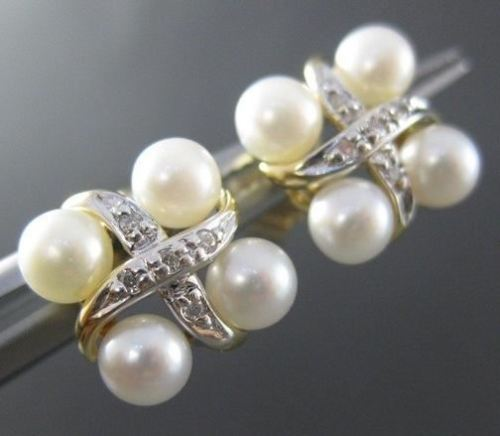 ANTIQUE DIAMOND 14KT TWO TONE GOLD AAA SOUTH SEA PEARL SQUARE EARRINGS #21919