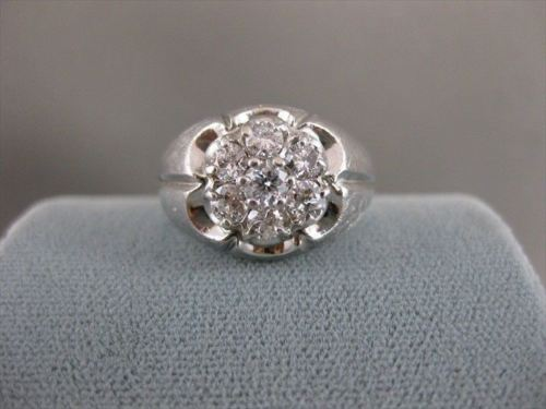 LARGE ANTIQUE .60CT OLD MINE CUT DIAMOND CLUSTER 14K WHITE GOLD RING 11MM #19898