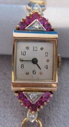 "ANTIQUE .90CTW EURO DIAMOND RUBY 14K WHITE Y GOLD MECHANICAL WATCH 6.25"" #1448"