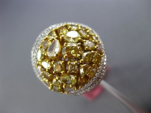 EXTRA LARGE 3.88CT WHITE & FANCY YELLOW DIAMOND 18KT TWO TONE GOLD CLUSTER RING