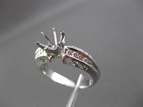 ANTIQUE .40CT DIAMOND 18KT WHITE GOLD FILIGREE SEMI MOUNT ENGAGEMENT RING #14811