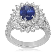 GIA CERTIFIED 3.65CT DIAMOND & AAA SAPPHIRE 18KT WHITE GOLD HALO ENGAGEMENT RING