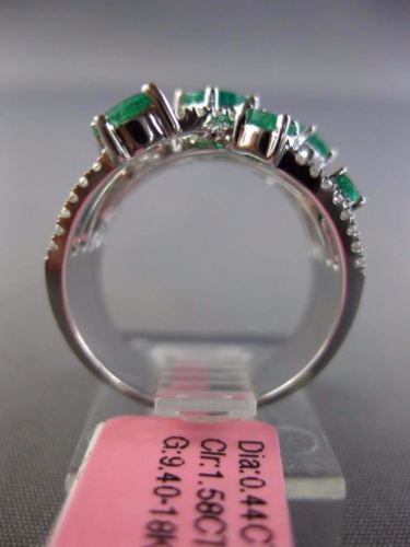 LARGE 2.02CT DIAMOND & AAA EMERALD 18KT WHITE GOLD MULTI ROW INFINITY LOVE RING