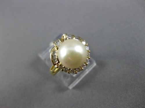 ESTATE WIDE .31CT ROUND BAGUETTE DIAMOND 14K YELLOW GOLD 3D SOUTH SEA PEARL RING