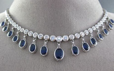 ESTATE 17.89CT DIAMOND & AAA SAPPHIRE 18KT WHITE GOLD PRINCESS COCKTAIL NECKLACE