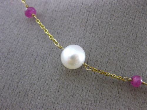 ESTATE PEARL & RUBY 14KT YELLOW GOLD BY THE YARD DIAMOND CUT NECKLACE #24942