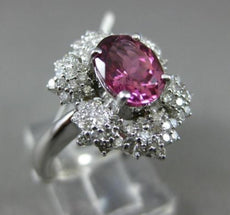 ESTATE WIDE 1.89CT DIAMOND & PINK TOURMALINE 14K WHITE GOLD FLOWER FILIGREE RING