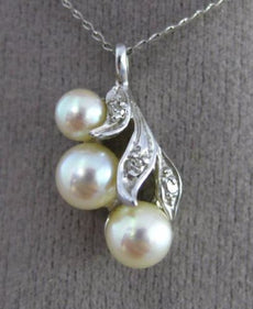 ANTIQUE .03CT DIAMOND 14K WHITE GOLD 3 STONE SOUTH SEA PEARL LEAF PENDANT #25414