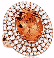ESTATE LARGE 10.50CT DIAMOND & AAA MORGANITE 14K ROSE GOLD TRIPLE OVAL HALO RING