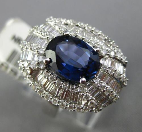ESTATE LARGE 4.39CT DIAMOND & AAA SAPPHIRE 18K WHITE GOLD 3D FANCY COCKTAIL RING