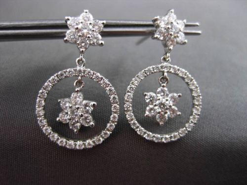 ANTIQUE 1.24CT DIAMOND 14KT WHITE GOLD FLOWER CIRCLE OF LIFE HANGING EARRINGS