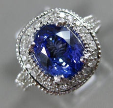 ESTATE 3.40CT DIAMOND & AAA OVAL TANZANITE 14KT WHITE GOLD HALO ENGAGEMENT RING