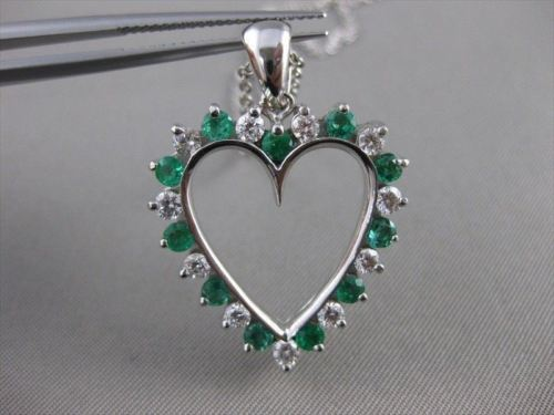 ESTATE 1.21CTW DIAMOND EMERALD HEART 14K WHITE GOLD OPEN PENDANT + CHAIN #15600