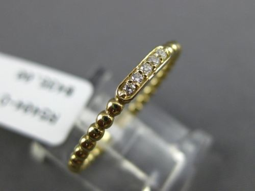 ESTATE .04CT ROUND DIAMOND 14KT YELLOW GOLD 3D 5 STONE MILGRAIN BEADED FUN RING