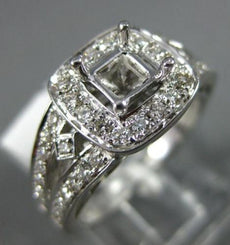 ESTATE WIDE .65CT DIAMOND 14KT WHITE GOLD SQUARE HALO SEMI MOUNT ENGAGEMENT RING
