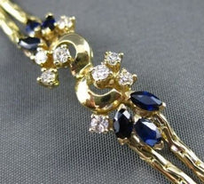 ANTIQUE WIDE 1.10CT DIAMOND & SAPPHIRE 14KT YELLOW GOLD FLORAL BRACELET #16127