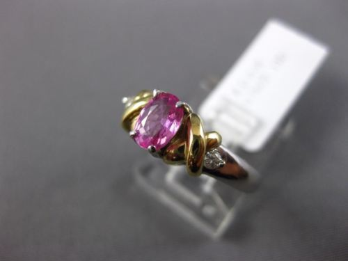 .75CT DIAMOND & AAA OVAL PINK SAPPHIRE 14KT 2 TONE GOLD 3 STONE ENGAGEMENT RING