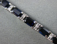 ESTATE LARGE 16.17CT DIAMOND & AAA SAPPHIRE 18KT WHITE GOLD 3D TENNIS BRACELET