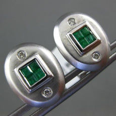 .46CT DIAMOND & AAA EMERALD 14KT WHITE GOLD OVAL SQUARE ETOILE CLIP ON EARRINGS