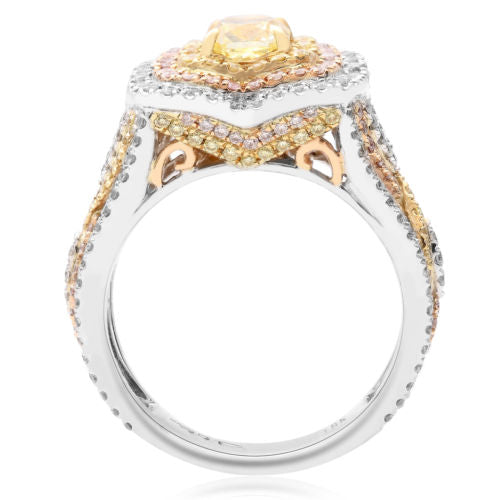 EGL 2.37CT WHITE PINK & FANCY YELLOW DIAMOND 18KT TRI COLOR GOLD ENGAGEMENT RING
