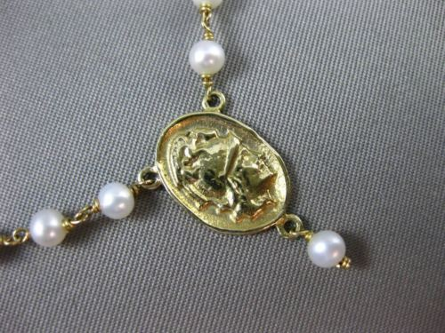 ANTIQUE AAA PEARL 14KT YELLOW GOLD ROSARY Y ROMAN SOLDIER LARIAT NECKLACE #23489