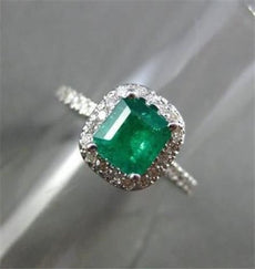 ESTATE 1.32CT AAA EMERALD & DIAMOND 14KT WHITE GOLD HALO ENGAGEMENT RING #22246