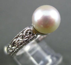 ANTIQUE WIDE AAA SOUTH SEA PEARL 14KT WHITE GOLD 3D SOLITAIRE FILIGREE RING