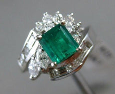 ESTATE 1.53CT MULTI CUT DIAMOND & AAA EMERALD 14K WHITE GOLD ENGAGEMENT RING 121