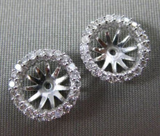 ESTATE .48CT DIAMOND 14KT WHITE GOLD 3D CLASSIC ROUND HALO JACKET EARRINGS