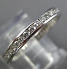 ESTATE .96CT DIAMOND 14KT WHITE GOLD 3D CLASSIC ETERNITY ANNIVERSARY RING #1636