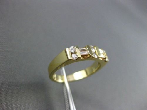 ANTIQUE .38CT DIAMOND 14K YELLOW GOLD BAGUETTE & ROUND ANNIVERSARY RING 4mm #167