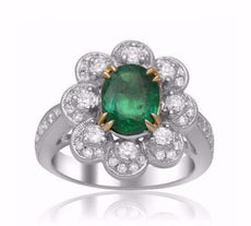 GIA CERTIFIED 2.45CT ROUND DIAMOND & AAA EMERALD 18KT 2 TONE GOLD 3D FLOWER RING