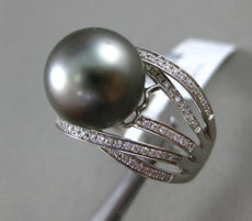 ESTATE EXTRA LARGE .50CT DIAMOND 14KT WHITE GOLD TAHITIAN PEARL MULTI ROW RING