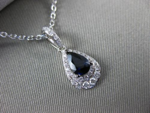ESTATE 1.49CT DIAMOND & AAA SAPPHIRE 14KT WHITE GOLD TEAR DROP FLOATING PENDANT