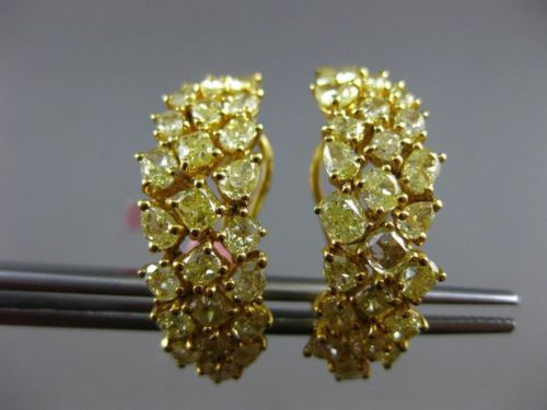 LARGE GIA 4.67CT FANCY YELLOW DIAMOND 18KT YELLOW GOLD CLUSTER CLIP ON EARRINGS