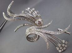 ANTIQUE EXTRA LARGE 3.60CT OLD MINE DIAMOND PLATINUM 3D FLOWER LEAF BROOCH PIN