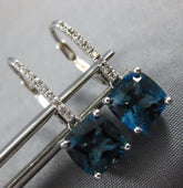 ESTATE 3.95CT AAA WHITE SAPPHIRE & BLUE TOPAZ 14K WHITE GOLD 3D HANGING EARRINGS