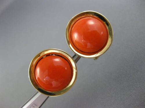 ANTIQUE LARGE ROUND AAA CORAL 14KT YELLOW GOLD CLASSIC CLIP ON EARRINGS #26082