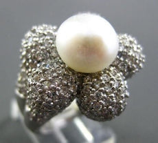 ESTATE LARGE 3.32CT DIAMOND 18KT WHITE GOLD PEARL FLOWER PAVE RING STUNNING!!